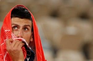 Novak Djokovic during the rain delay.