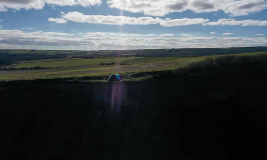 The tent on the Cleveland Way where two adults and a child were found.