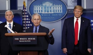 Donald Trump, Mike Pence and Dr Anthony Fauci at the White House in Washington DC.