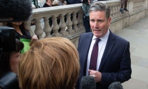 Keir Starmer talks to the media during cross-party Brexit talks