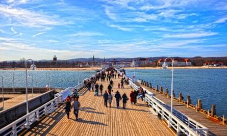 Tourists walking on the Sopot Pier