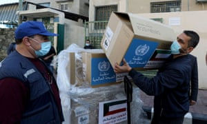 Ventilators delivered by the World Health Organization (WHO) and donated by Kuwait, in Gaza City.