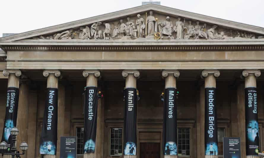 Greenpeace activists hang banners on the front of the British Museum in May 2016 in protest at BP's sponsorship.