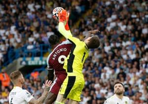 West Ham United's Michail Antonio fouls Leeds United's Illan Meslier.