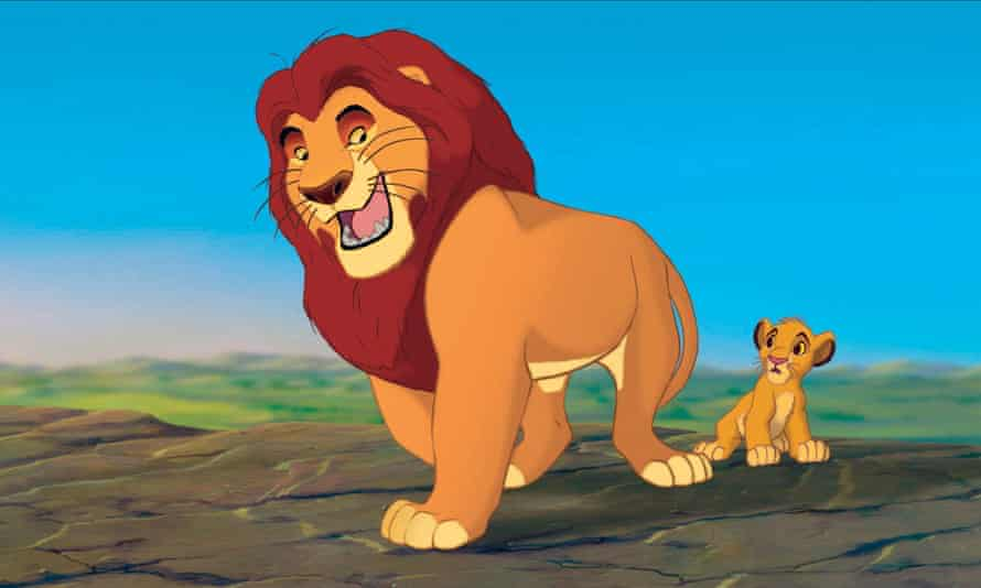 Still from 1994 animated movie The Lion King, showing Mafusa and Simba