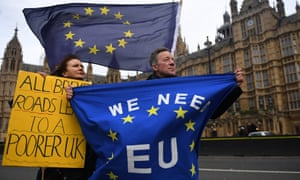 Pro-EU protesters demonstrate outside parliament on 29 November 2018