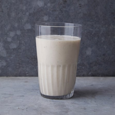 A banana lassi with coconut and cardamom.