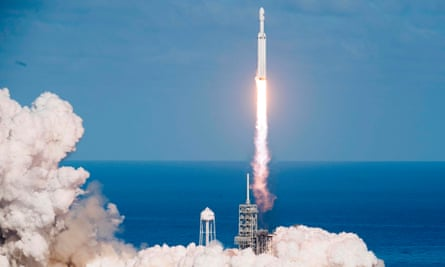 The SpaceX Falcon Heavy takes off the Kennedy Space Center in Florida, on February 6, 2018.