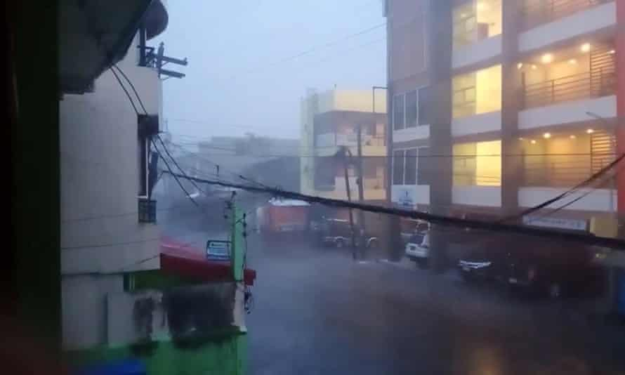 Heavy rain brought by Typhoon Goni in Sorsogon City in the Philippines on Sunday.