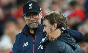 Liverpool manager Jurgen Klopp with counterpart Daniel Farke of Norwich City at the end of the game.
