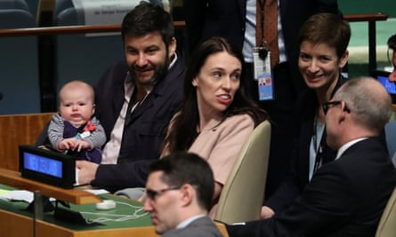 New Zealand prime minister Jacinda Ardern sits with her baby Neve before speaking at the Nelson Mandela Peace Summit during the 73rd United Nations General Assembly in New York