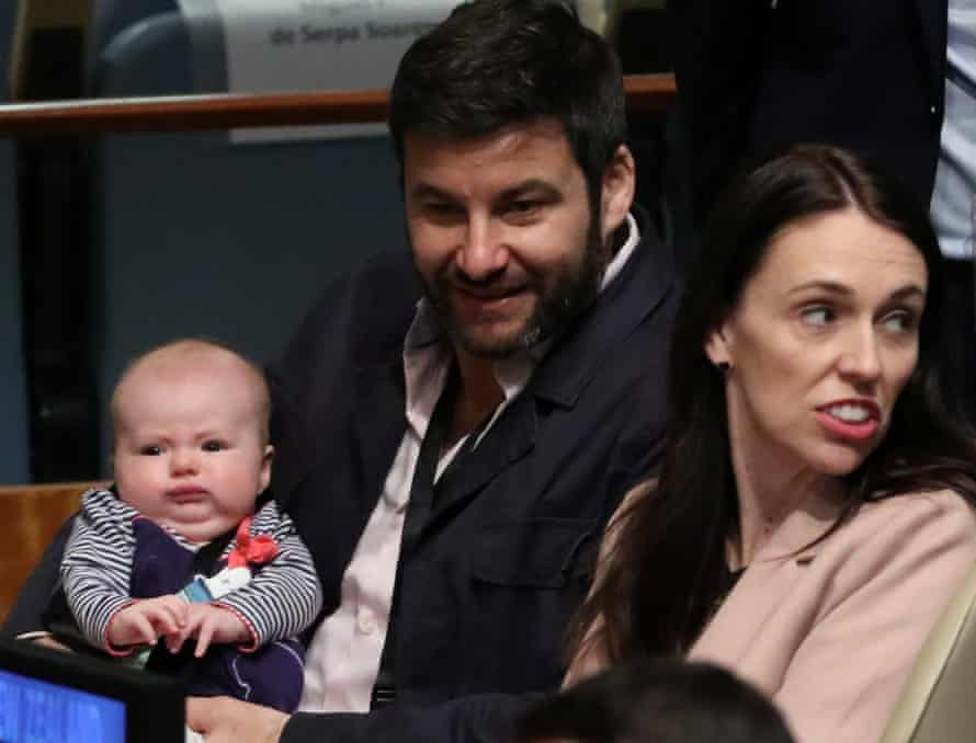 New Zealand Prime Minister Jacinda Ardern sits with her baby Neve before speaking at the Nelson Mandela Peace Summit during the 73rd United Nations General Assembly in New York, U.S., September 24, 2018. REUTERS/Carlo Allegri