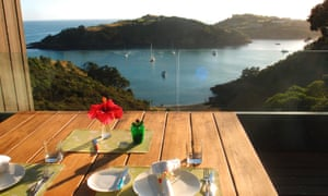 Owhanake Bay from the breakfast table at at Marino Ridge