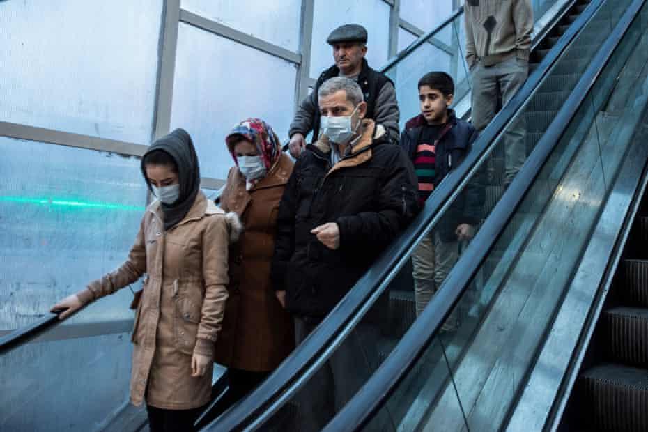 People wearing face masks in Rasht, Gilan province