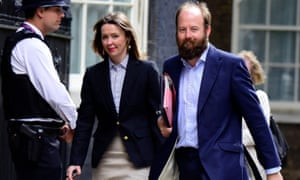 Powers behind the May throne: Fiona Hill and Nick Timothy arrive for work at Downing Street.
