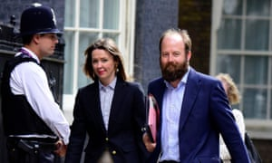 Nick Timothy arrives at No 10 last week with his joint chief of staff, Fiona Hill.