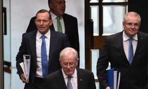 Tony Abbott and his team arrive for question time on Tuesday