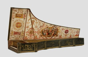 Harpsichord by Giovanni Antonio Baffo, 1574. Pine case, inner face veneered with rosewood, partly inlaid with boxwood; cypress soundboard.