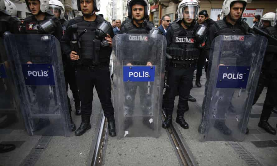 Police officers near central Istanbul's Taksim Square