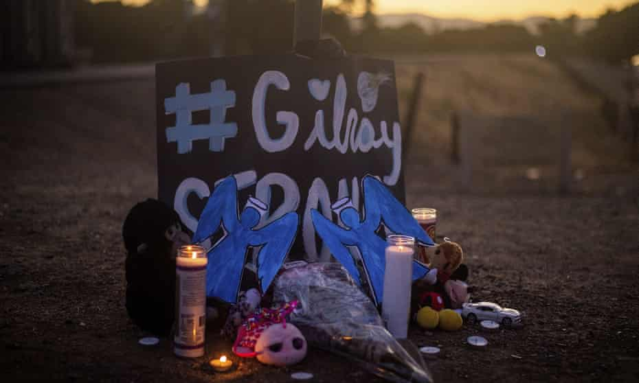 A makeshift memorial pays tribute to the victims of the Gilroy garlic festival shooting on 28 July 2019.