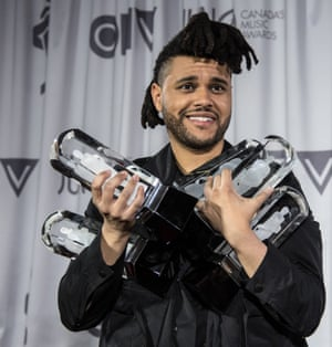 Musician the Weeknd at the Juno Awards in April  2016 in Calgary, Canada