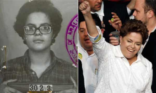 Dilma Rousseff in her urban guerrilla days is seen in a 1970 police photo and while running for president of Brazil in 2010.