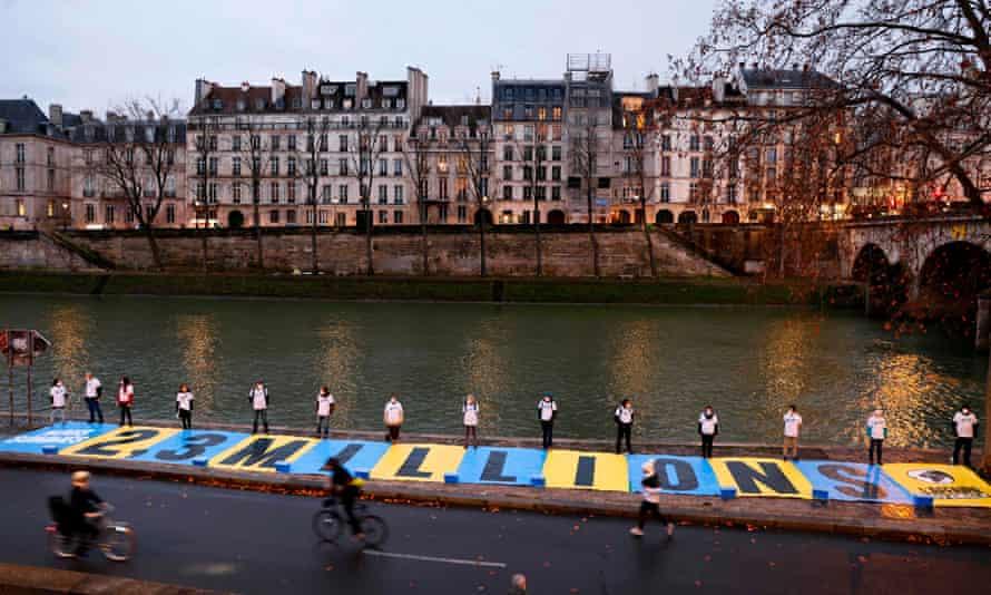 Environmental activists protest in Paris