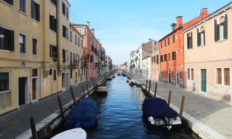 An empty Venice canal during the coronavirus outbreak in Italy
