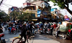 Traffic jam and people in Old Quarter, Hanoi