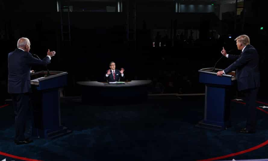 Debate moderator Chris Wallace tries to marshal Biden and Trump during their chaotic first debate in September.
