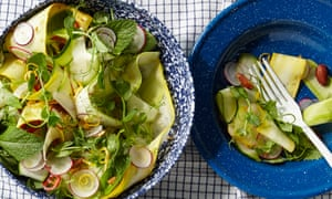 Raw courgette, almond, chilli and mint salad.