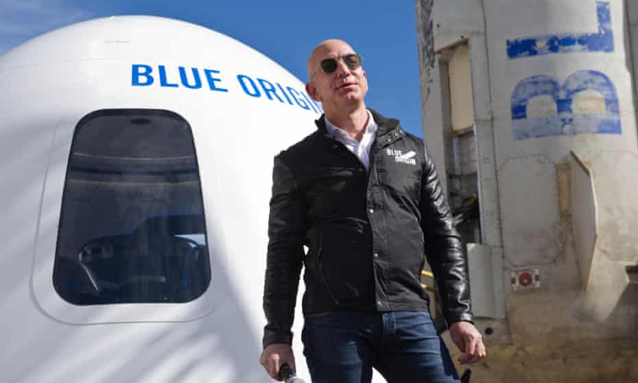 Jeff Bezos with the Blue Origin New Shepard rocket booster in Colorado Springs, US, April 2017