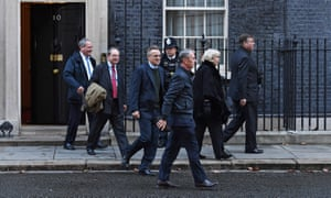 Graham Brady, right, outside 10 Downing Street, with fellow 1922 committee members (from left) Bob Blackman, Geoffrey Clifton-Brown, Charles Walker, Nigel Evans and Cheryl Gillan.