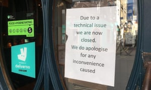 A sign on the door of Zizzi restaurant in Clifton over the closure.