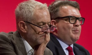 Jeremy Corbyn (left) and Tom Watson on the platform at the Labour conference