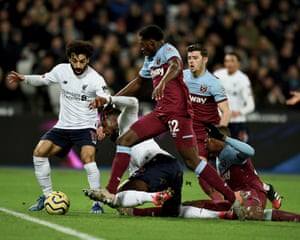 Divock Origi is fouled by West Ham's Issa Diop in the penalty area during the match at the London Stadium.