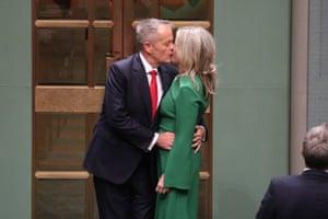 Bill and Chloe Shorten after the budget reply speech