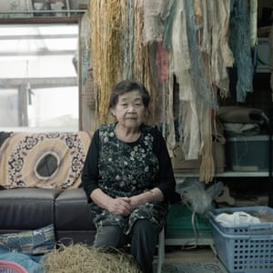 Yukiko Kaizawa in her Attush workshop. Attush is a traditional Ainu weaving technique that employs fibres derived from tree bark. Kaizawa, with the help of her family, still sources the tree bark from the forests that surround Nibutani.