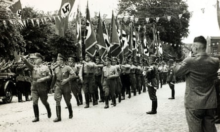 A column of German Stormtroopers marches through Danzig (now Gdansk) in July 1939.