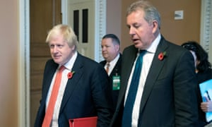 Boris Johnson, then foreign secretary, with the UK ambassador to the US, Sir Kim Darroch, in 2017.