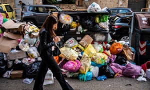 Rubbish piled up on the streets of Rome