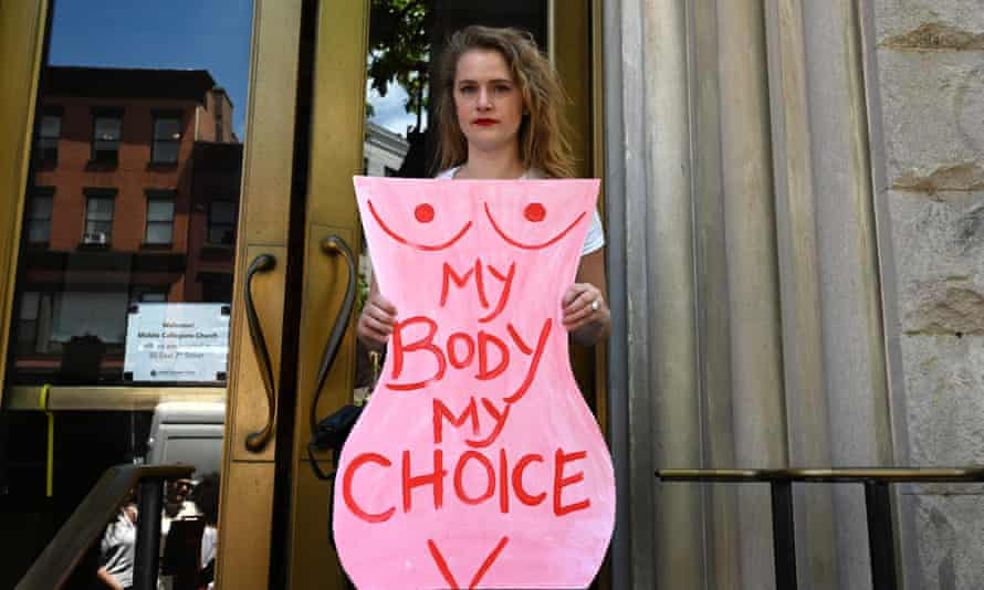 A pro-choice demonstrator at a rally in New York City.