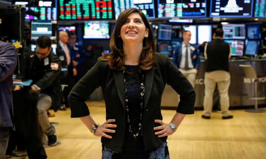 Stacey Cunningham, standing in the Stock Exchange on 22 May, joined the NYSE as a summer intern 24 years ago.