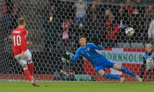 Eriksen gets Denmark's second goal.