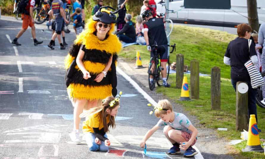 Helen Pidd dressed as a Mancunian worker bee as part of the Walk Ride Romiley campaign.