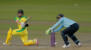 Finch hits out at Rashid for four.