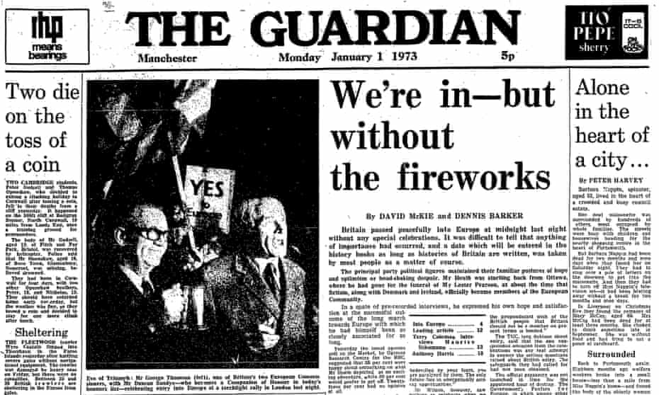 The Guardian's front page from 1 January 1973