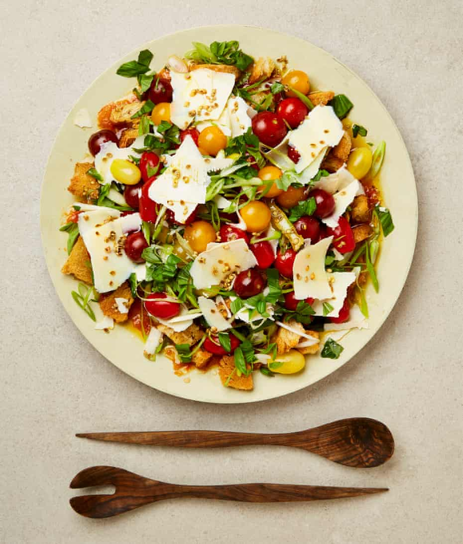 Yotam Ottolenghi's tomato salad with ricotta and a coriander seed and lemon oil.