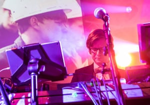 Public Service Broadcasting frontman J Willgoose Esq during the 8 June gig at the Ebbw Vale Institute