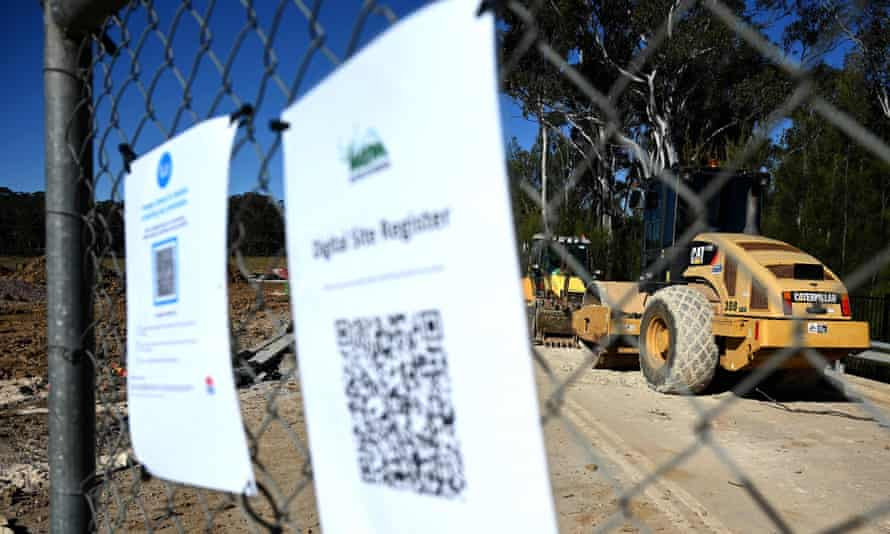 A  western Sydney construction site where work has been halted under Covid lockdown restrictions